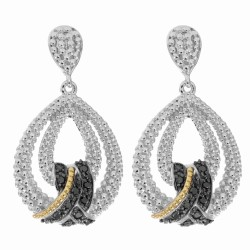 "18Kt Yellow Gold Silver with Rhodium Black Rhodium Finish Shiny Fancy Teardrop Earring with 24-0.01Ct Faceted Blk Diamond ""Philip Gavriel Col"