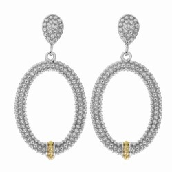 "18Kt Yellow Gold Silver with Rhodium Finish Shiny Fancy Open Oval Drop Earri Ng ""Philip Gavriel Collection"