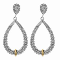 """18Kt Yellow Gold Silver with Rhodium Finish Shiny Fancy Open Teardrop Drop Ea Rring """"Philip Gavriel Collection"""