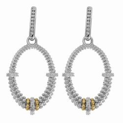 "18Kt Yellow Gold Silver with Rhodium Finish Fancy Open Oval Drop Earring Wit H 34-0.01Ct Faceted White Diamond ""Philip Gavriel Collection"