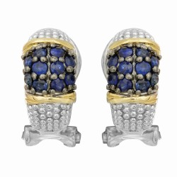 "18Kt Yellow Gold Silver with Rhodium Black Rhodium Finish Finish Fancy French Back Earring with 20-2.0 Round Blue Sapphire ""Philip Gavriel Collection"