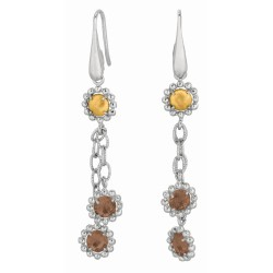 18Kt Yellow Gold Sterling Silver with Rhodium Finish Finish Drop Earring with Smokey Quartz. Italian Cable Collection.
