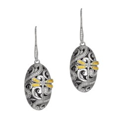 18Kt Yellow Gold Silver 0.54Ct. Domed Oval Drop Earring with Dragonfly French Wire Clasp