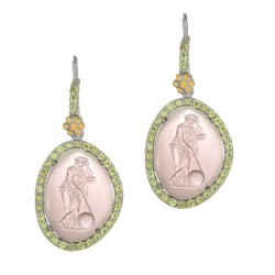 18Kt Yellow Gold Silver with Rhodium Finish Purple 20.7X15.6mm Glass Cameo Trimmed with Peridot Drop Earring with French