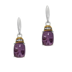 18Kt Yellow Gold Silver with Rhodium Finish Shiny 2-8X6 Cs Cab Amethyst Oval Drop Earring On Post B Utterfly Clasp with 4-0.005Ct S C White Diamond