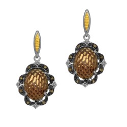 18Kt Yellow Gold Silver with Rhodium Ruthenium Finish F Ancy 2-14X10 Oval Dome Ck Flat Bottom Smokey Quart Z Drop Earring On Post Butterfly Clasp Trimmed Wit
