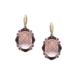 18Kt Yellow Gold Silver with Rhodium Ruthenium Finish 2 -16X12 Oval Dome Ck Flat Bottom Rose Quartz Fancy Drop Earring On Post Butterfly Clasp Trimmed with