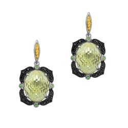 18Kt Yellow Gold Silver with Rhodium Ruthenium Finish 2 -22X16 Oval Dome Ck Flat Bottom Green Amethyst Rec Tangular Drop Earring On Post Butterfly Clasp Trim