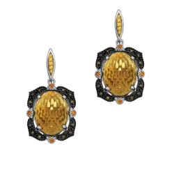 18Kt Yellow Gold Silver with Rhodium Ruthenium Finish 2 -22X16 Oval Dome Ck Flat Bottom Whisky Quartz Rect Angular Drop Earring On Post Butterfly Clasp Trimm