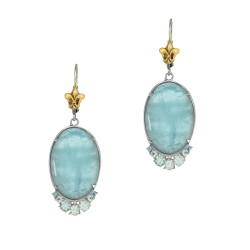 18Kt Yellow Gold Silver with Rhodium Finish Shiny 16.5X48.0mm S G Aquamarine Oval with Blue Topaz Ye Llow Fleur De Lis Fancy Leverback Earring