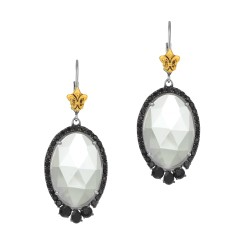 18Kt Yellow Gold Silver with Rhodium Finish Shiny 18.64X47.0mm S G White Crystal Oval with Black Spi Nel Yellow Fleur De Lis Fancy Leverback Earring
