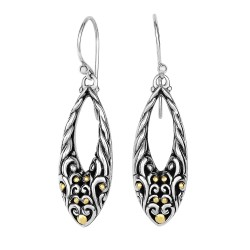18Kt Yellow Gold Silver with Oxidized Finish Shiny 45X12mm Graduated Open Teardrop Fancy Byzantine D Rop Earring with Euro Wire Clasp