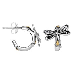 18Kt Yellow Gold Silver with Oxidized Finish Shiny 14X13mm 3 4 Moon Type White Sapphire Dragonfly Fa Ncy Post Earring with Push Back Clasp