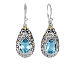 18Kt Yellow Gold Silver with Oxidized Finish Shiny 35X13mm White Sapphire Blue Topaz Teardrop Fancy Byzantine Drop Earring with Euro Wire Clasp