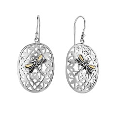 18kt Silver Oxidized Rhodium Finish Shiny 21x45mm Oval Dragonfly Drop Earring with Euro Wire Clasp