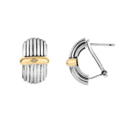 18kt Yellow Gold Silver with Oxidized Finish 11x18 mm Multi-Row Half Moon Type Fancy Designer Leverba ck Earring with 0.02ct.Diamond
