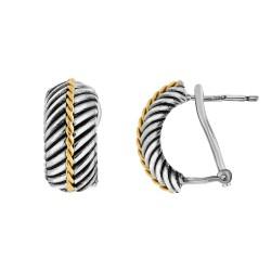 18kt Yellow Gold Silver with Oxidized Finish 8x17m m Herringbone Type Pattern Half Moon Fancy Designe r Leverback Earring