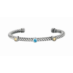 """18Kt Yellow Gold Sterling Silver Twisted Patterned Cuff Bangle with Blue Topaz In Center And Gold Spots On Each Side. """"Italian Cable"""" Collection."""