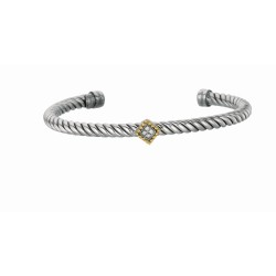 """0.04Ct. Diamond 18Kt Yellow Gold Sterling Silver Twisted Patte Rned Cuff Bangle with Diamond Containing Diamond Shape In Center. Phillip Gavrie L """"Italian Cable"""" Collection."""