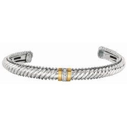 """0.05Ct. Diamond 18Kt Yellow Gold Sterling Silver Twisted Patte Rned Cuff Bangle with Diamond Containing Barrel Center. """"Italian Cable"""" Collection."""