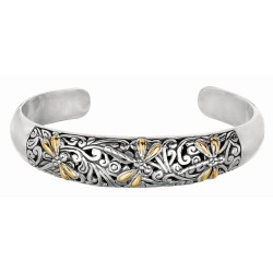 """18Kt Yellow Gold Sterling Silver Oxidized Dragonfly Domed Cuff Bangle. Featuring """"Dragonfly"""" Collection."""