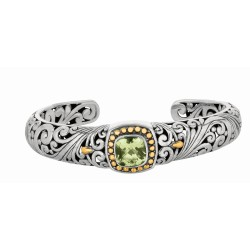 """18Kt Yellow Gold Sterling Silver Oxidized Green Amethyst Byzan Tine Cuff Bangle. Timeless """"Byzantine"""" Collection."""