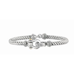 0.03Ct. Diamond 18Kt Yellow Gold Sterling Silver Twisted Patte Rned Flex Bangle Horse Shoe Center.