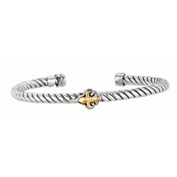 18Kt Yellow Gold Sterling Silver Twisted Patterned Cuff Bangle with Fleur De Lis Symbol In Center.