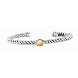 18Kt Yellow Gold Sterling Silver Twisted Patterned Cuff Bangle with Heart In Center.