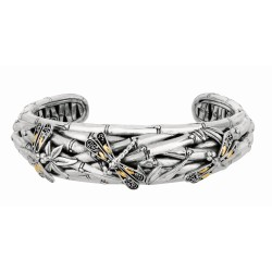 """18Kt Yellow Gold Sterling Silver Oxidized Dragonfly Bamboo Narr Ow Cuff Bangle. Featuring """"Dragonfly"""" Collection."""