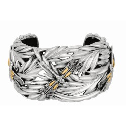 """18Kt Yellow Gold Sterling Silver Oxidized Dragonfly Bamboo Wide Cuff Bangle. Featuring """"Dragonfly"""" Collection."""