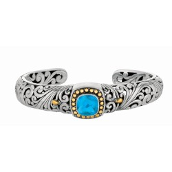 "18Kt Yellow Gold Sterling Silver Oxidized Blue Topaz Byzantine Cuff Bangle. Timeless ""Byzantine"" Collection."