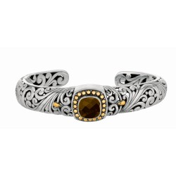 "18Kt Yellow Gold Sterling Silver Oxidized Smokey Quartz Byzant Ine Cuff Bangle. Timeless ""Byzantine"" Collection."