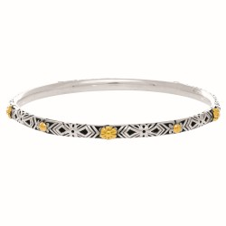 18Kt Yellow Gold Sterling Silver with Rhodium Finish P. Shiny Ed Testured Slip On By Zentine Bangle. Phillip Gavriedl Byzentine Collection.