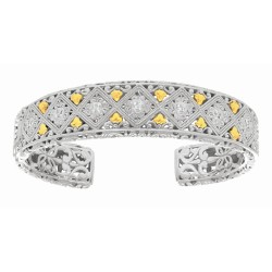 18K Ag.21Ct 14-17.2mm Yellow Gold Rhod. P Diamond Pattern Top Adjustable Gradua Ted Cuff Bangle withyg Fleur De Lys
