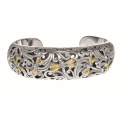 18Kt Yellow Gold Oxidized Sterling Silver 0.59Ct. Diamond Dragonfly Wider Cuff Bangle