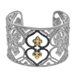 18Kt Yellow Gold Silver with Rhodium Finish 40mm Soft Edged Fleur De Lys Cuff Bangle with Black Diamond