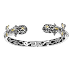 18Kt Yellow Gold Silver with Oxidized Finish Shiny 13-6mm Snake Head Type Graduated Fancy Dragonfly Hinge Cuff Bangle