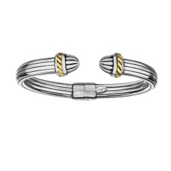 18kt Yellow Gold Silver with Oxidized Finish 11-8m m Shiny Textured Rectangle Tube Oval Cuff Bangle w ith Hinge For Opening