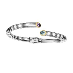 18kt Yellow Gold Silver with Oxidized Finish 5.6mm Shiny Textured Oval Amethyst Blue Topaz Round Tub e Cuff Bangle with Hinge For Opening