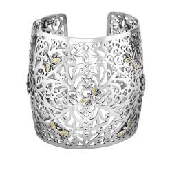 18kt Yellow Gold Oxidized Silver Filigree Type Vin e Patterned Convex Cuff Bangle