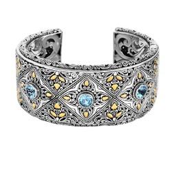 18kt Silver Yellow Oxidized Shiny Textured 34mm By zantine Cuff Bangle with Blue Topaz Hinge Clasp
