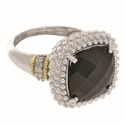 Silver And 18Kt Gold Popcorn Ring With Large Square Cushion Black Onyx And Diamonds