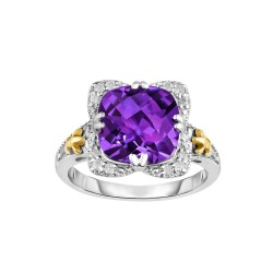 Silver And 18Kt Gold Gem Candy Square Ring With Cushion Amethyst And Diamonds
