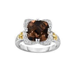 Silver And 18Kt Gold Gem Candy Square Ring With Cushion Smokey Quartz And Diamonds