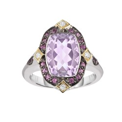Silver And 18Kt Gold Cushion P Ink Amethyst, Rhodalite And Diamonds Ring