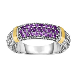 Silver And 18Kt Gold Popcorn Ring With Amethyst