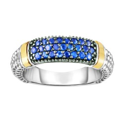 Silver And 18Kt Gold Popcorn Ring With Blue Sapphires