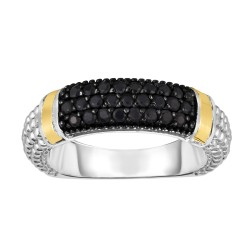 Silver And 18Kt Gold Popcorn Ring With Black Sapphires