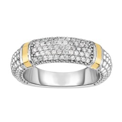 Silver And 18Kt Gold Popcorn Ring With Diamonds